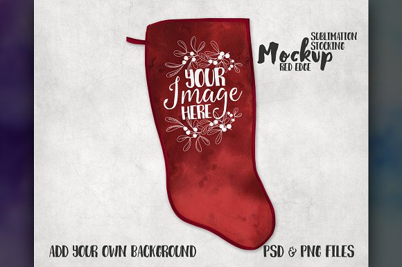 Download Red Trim Christmas Stocking Mockup - Download PSD