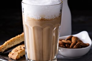 Coffee latte with almond milk