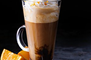 Hot viennese coffee with whipped cream