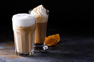 Coffee latte and viennese coffee with whipped cream