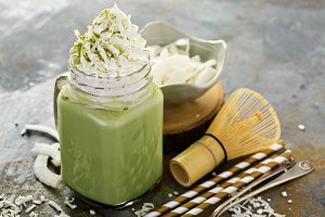 Iced matcha latte with coconut cream