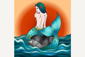 Mermaid girl vector illustration