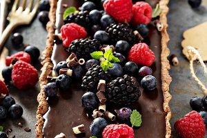 Chocolate ganache tart with fresh berries