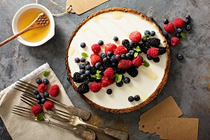 Summer berries and greek yogurt tart