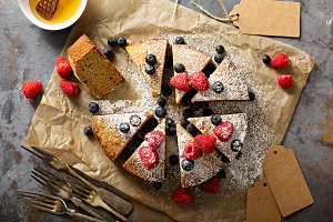 Gluten free cake with fresh fruit