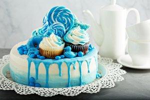 Baby shower or boy birthday cake