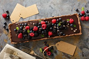 Chocolate ganache tart with fresh berries