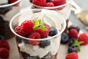 Chocolate mousse dessert with fresh berries