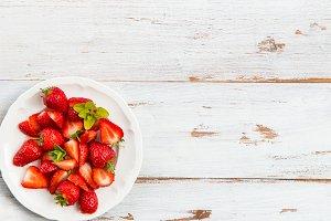 Fresh Strawberry on White Plate