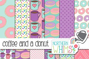 Coffee and a Donut Seamless Patterns