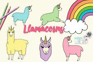 Llamacorn (llama unicorn) clip art