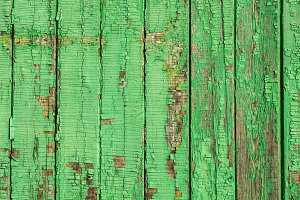 Painted Old Wooden Green Wall