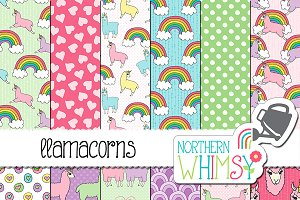 Llamacorn (llama unicorn) Patterns