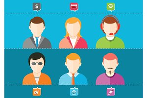 Business set of stylish avatars