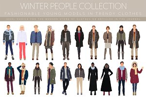 Fashionable winter people collection