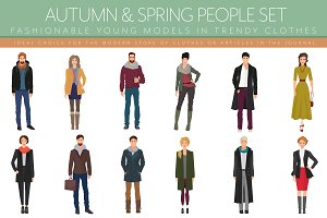 Fashionable autumn spring people set