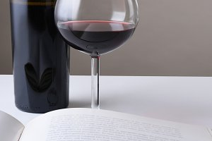 Wine and Book Still Life