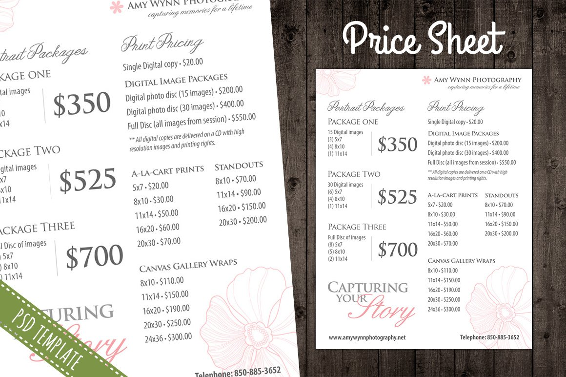 price list template  pricing sheet  creative photoshop