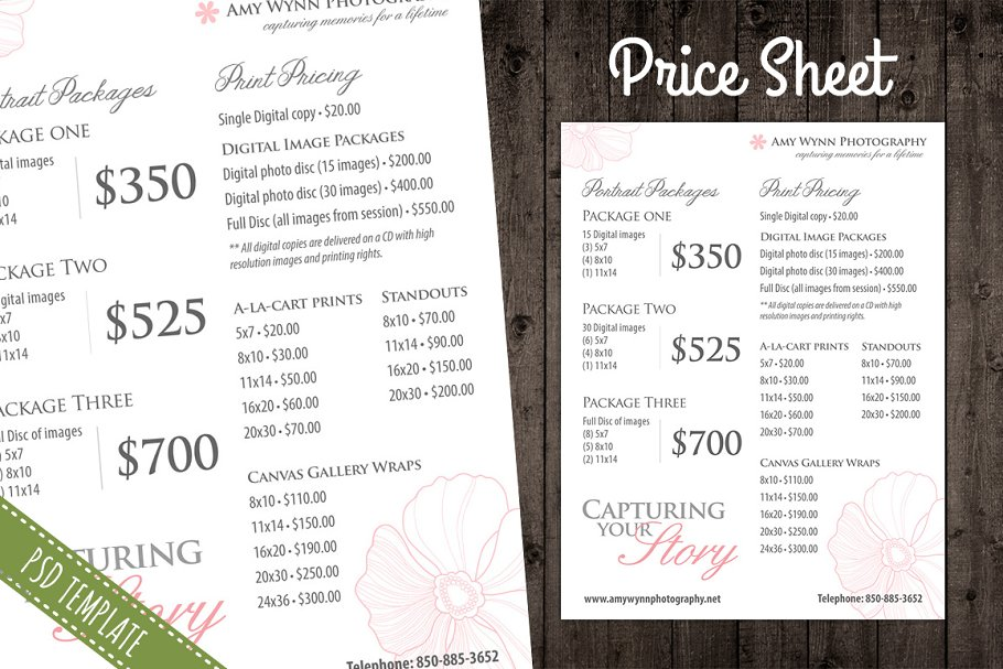 Price List Template Pricing Sheet Flyer Templates Creative Market