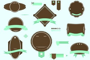 retro banner ribbons frames pack 1