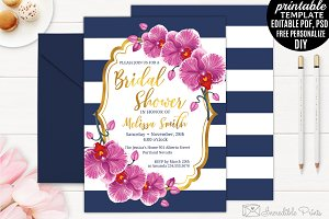 Orchid Navy Bridal Shower Invitation