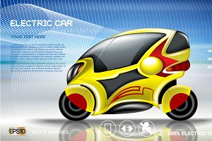 Vector yellow electric car mockup