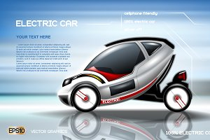 Vector electric car mockup