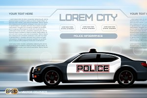 Vector city police car mockup