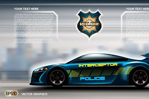 Vector interceptor police car mockup