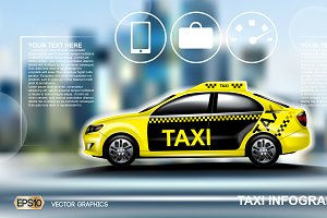 Vector yellow taxi car mockup