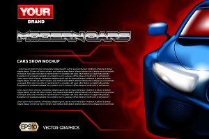 Vector blue modern car mockup