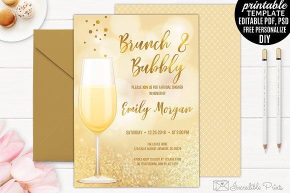 50ec40c26d6f Brunch and Bubbly Bridal Shower ~ Invitation Templates ~ Creative Market