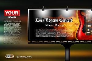 Vector guitar concert ad mockup