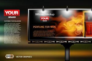 Vector red perfume ad mockup