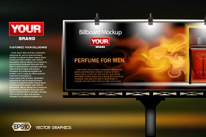 Vector red perfume ad mockup