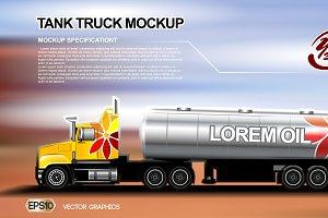 Vector modern tank truck mockup
