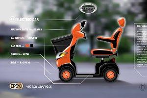 Vector realistic electric car mockup