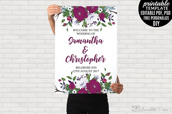 Floral Wedding Welcome Poster