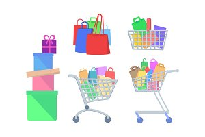 Set of Shopping Vector Icons in Flat Style