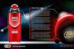 Vector red shower gel mockup