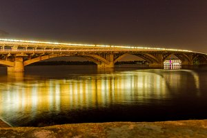 Bridge station in Kyiv, Ukraine. Bridge above Dnipro river.
