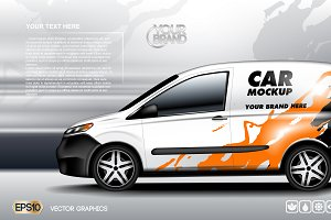 Vector van car mockup