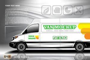 Vector modern bus mockup