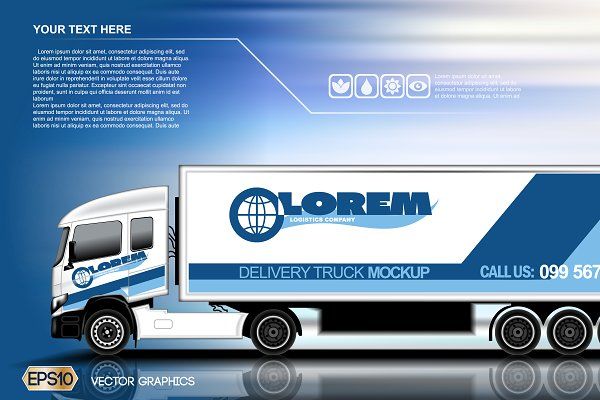 Vector blue delivery truck mockup