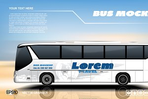 Vector blue travel bus mockup