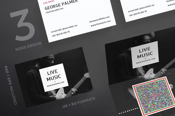 Business cards live music business card templates creative market reheart Images
