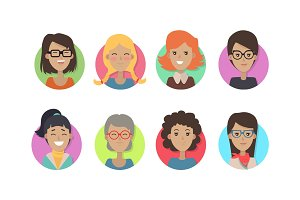Woman Face Emotive Vector Icons in Flat Style Set