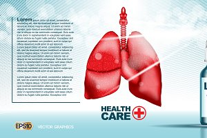 Vector lungs medicine mockup