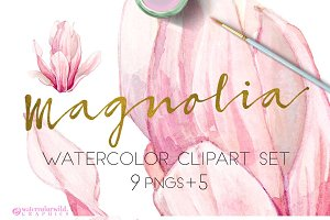 Magnolia-Clipart Set Watercolor