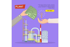 Buying Plant Online. Property Selling. Web Banner.